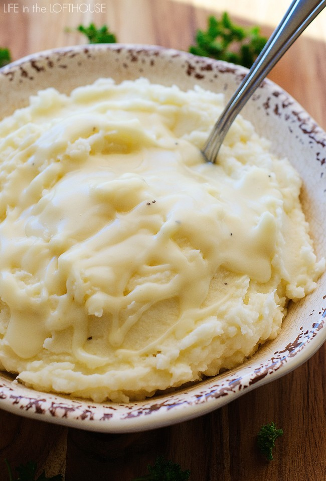 Garlic Parmesan Mashed Potatoes and Gravy