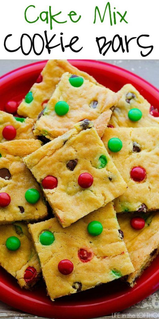 Cake Mix Cookie Bars are soft, chewy and loaded with chocolate chips and M&M's. Life-in-the-Lofthouse.com
