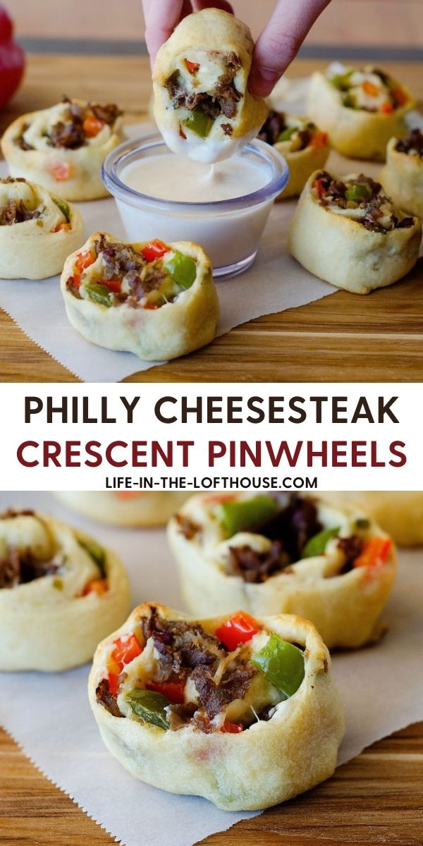 Philly cheese steak crescent pinwheels are filled with steak, cream cheese and bell peppers that are wrapped up in flaky crescent dough. Life-in-the-Lofthouse.com
