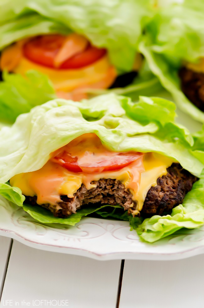 A flavorful burger topped with cheese, tomato, and a mouth-watering spread wrapped in lettuce. Life-in-the-Lofthouse.com