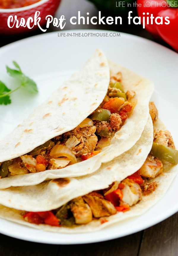 Chicken, bell peppers, onion and an assortment of Mexican spices make up these flavorful Crock Pot chicken fajitas. Life-in-the-Lofthouse.com