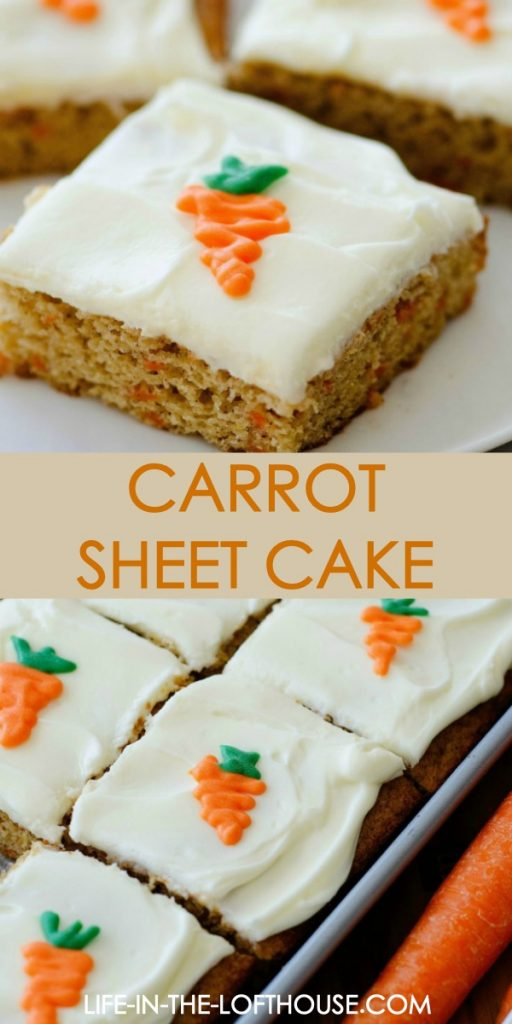 Carrot sheet cake is a smooth cake full of carrot and cinnamon flavor topped with a delicious cream cheese frosting. Life-in-the-Lofthouse.com