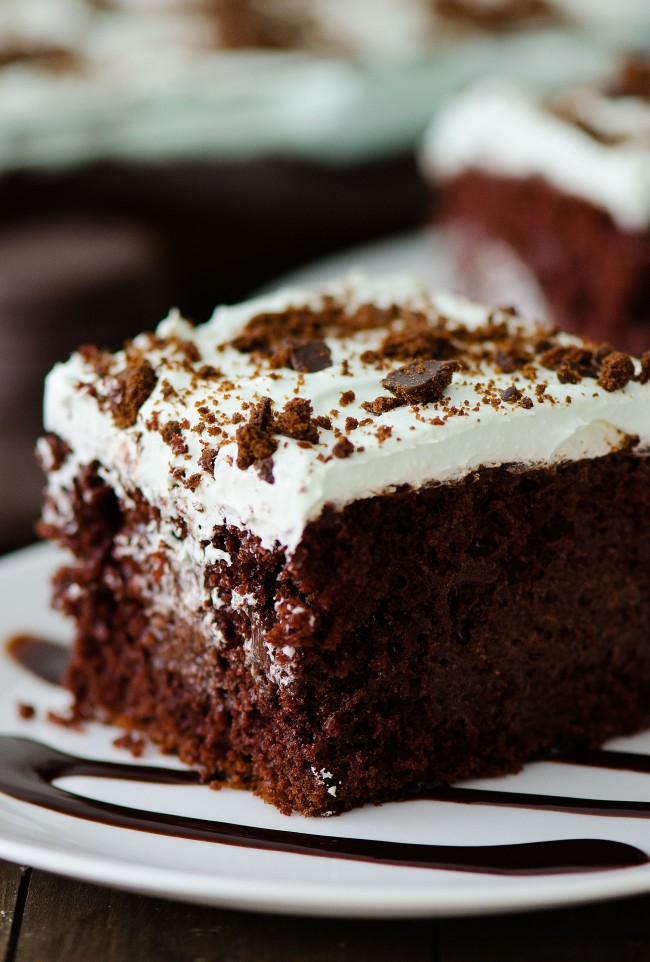 This incredible Thin Mint Chocolate Poke Cake is filled with chocolate pudding, crushed thin mint cookies and topped with a creamy peppermint whipped topping. Life-in-the-Lofthouse.com
