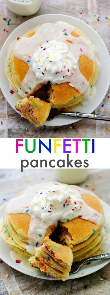 Funfetti Pancakes are light and fluffy and taste like birthday cake with a delicious vanilla frosting to top them off. Life-in-the-Lofthouse.com