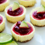 Mini Lime Cheesecakes with Raspberry Sauce