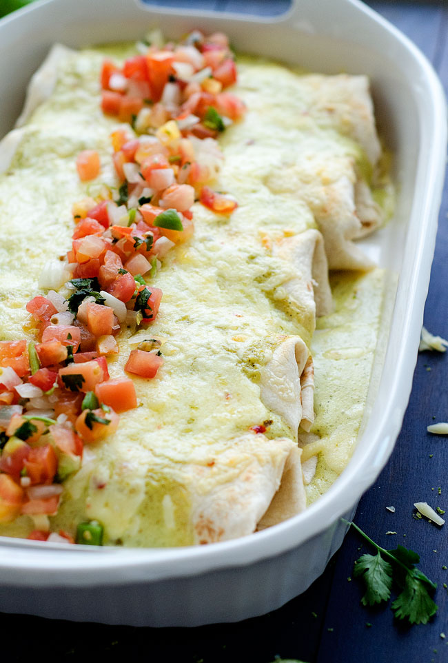 Flavor-packed burritos loaded with shredded chicken, rice and beans then smothered in a delicious salsa verde dressing. Life-in-the-Lofthouse.com