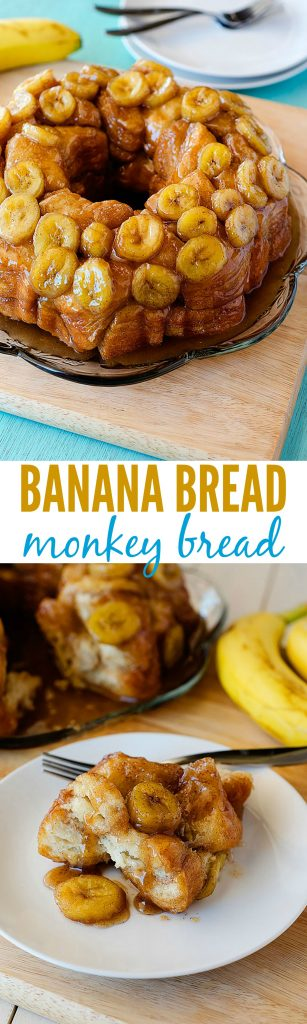 This monkey bread tastes just like banana bread and oozes with caramel and cinnamon. The banana pieces almost melt in your mouth!