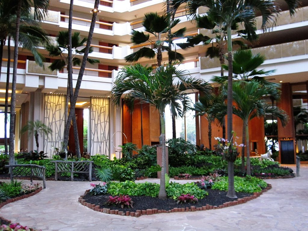the lobby at the Hyatt Hotel in Maui