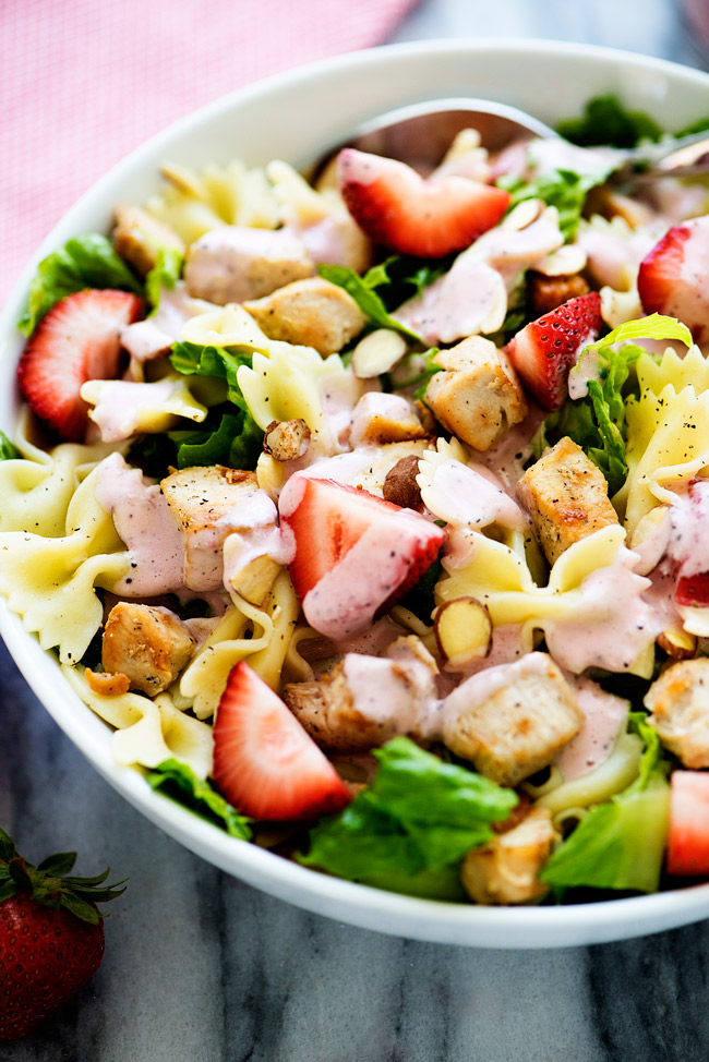 So much deliciousness in one salad. This is the best salad to serve in the summer!