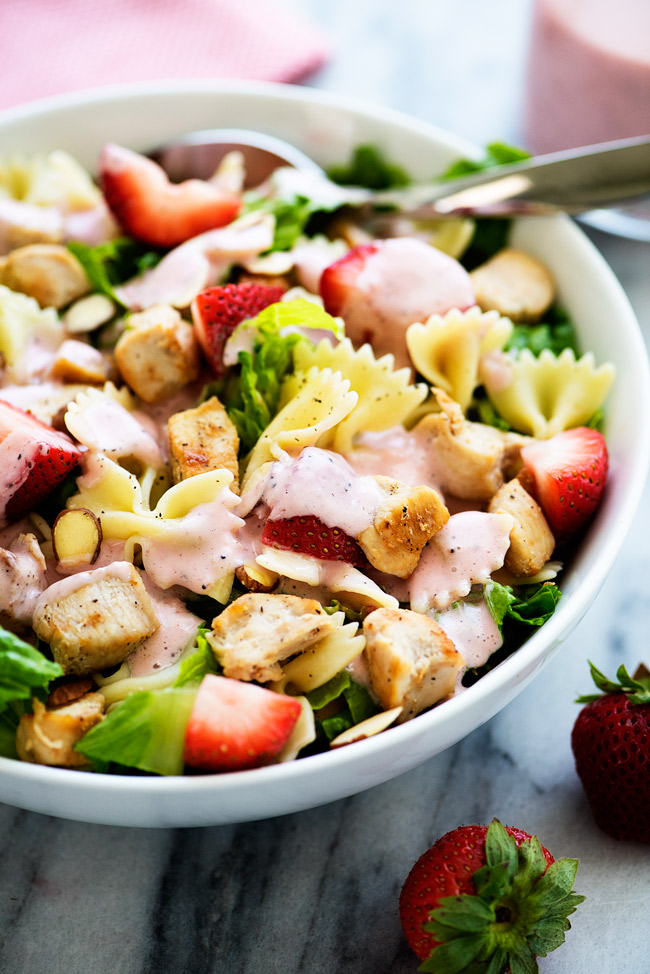 This Chicken Strawberry Pasta Salad is always a hit. We love to serve it with poppy seed dressing