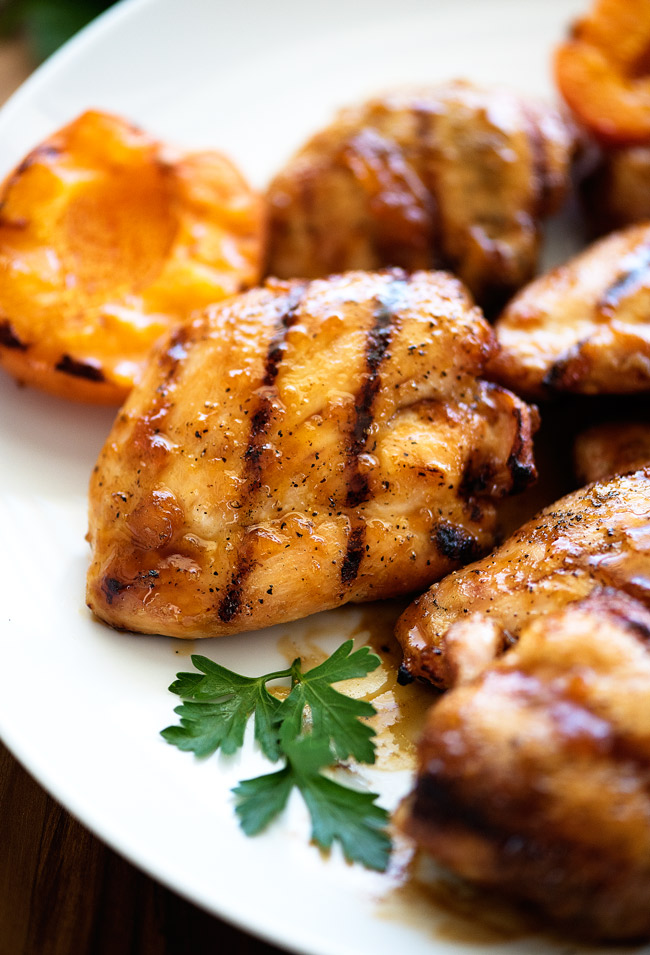 Grilled Apricot Chicken! Using chicken thighs is something I'll always ...