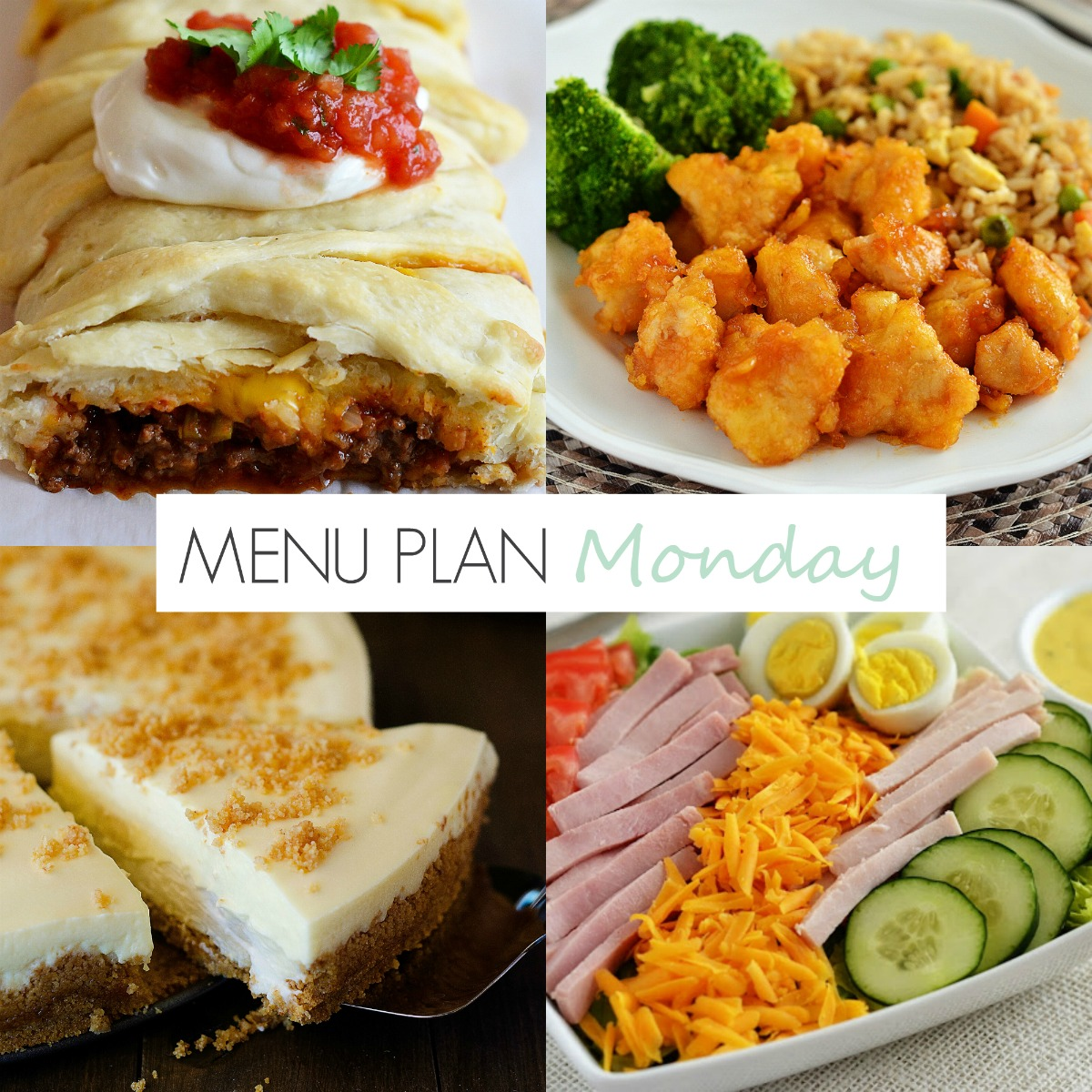 Baked sweet n sour chicken, chef salads, taco braid and more faves on Menu Plan Monday #151