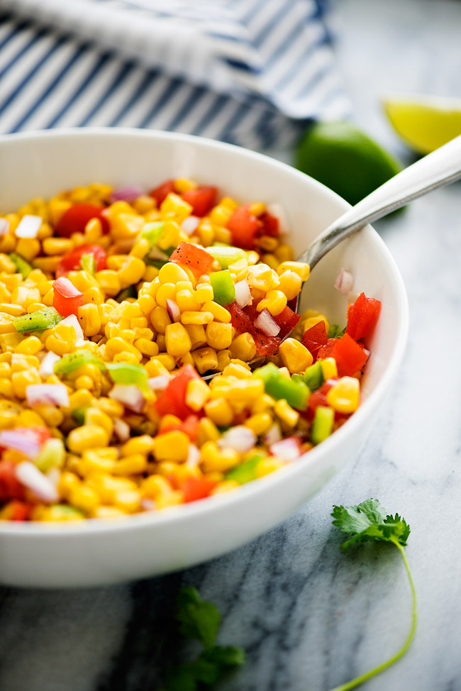 This amazing corn salad never lasts long when I make it. It is so good and good for you!