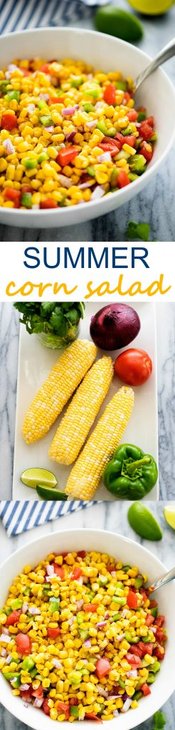 This corn salad is full of delicious veggies. It has so much flavor going on inside and it's good for you!