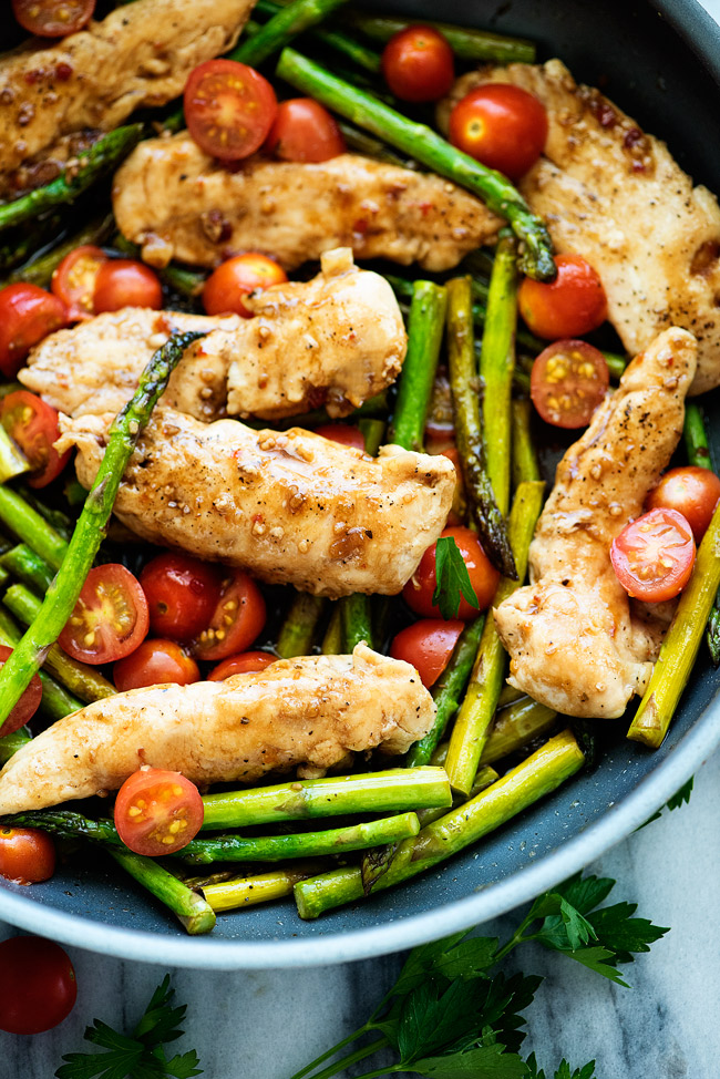 Balsamic and Honey Chicken with asparagus and tomatoes. Delish!