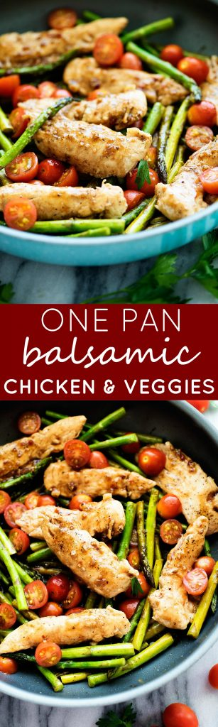 Balsamic vinegar and honey creates a glaze that coats tender chicken & veggies. This meal is amazing!
