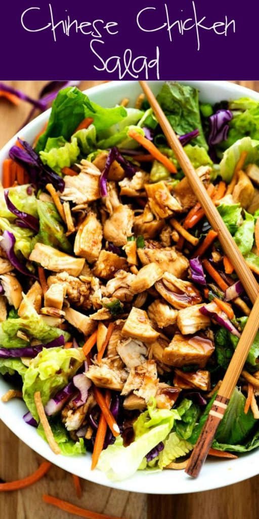 This Chinese Chicken Salad is loaded withshredded carrots, green onion, red cabbage over a bed of romaine lettuce with a delicious Chinese dressing. Life-in-the-Lofthouse.com