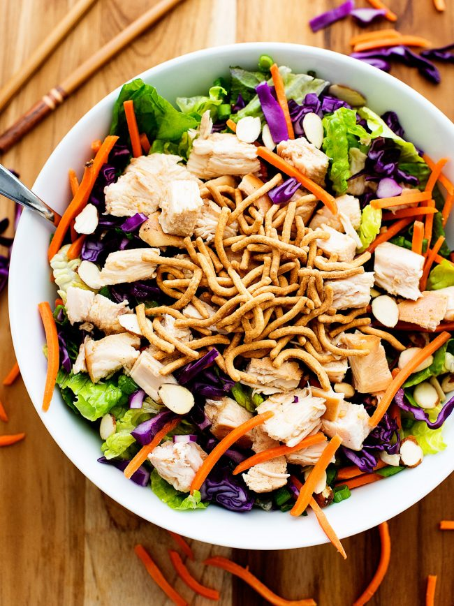 This Chinese chicken salad is so delicious and packed with veggies, grilled chicken and dressing