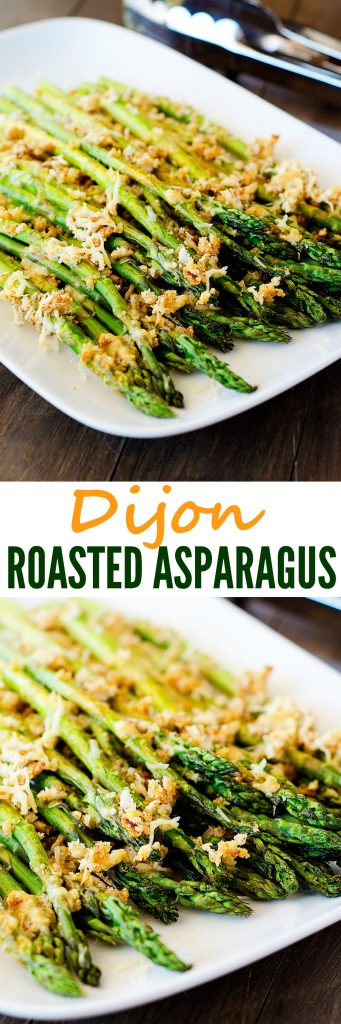 Roasted asparagus with a delicious dijon mixture, bread crumbs and cheese. Life-in-the-Lofthouse.com