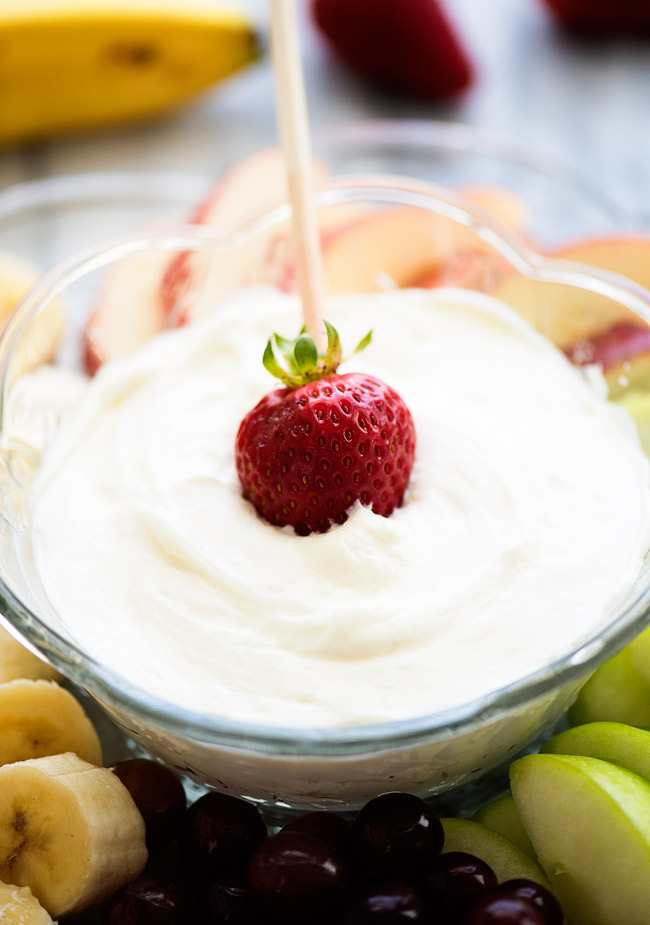 Easy fruit dip is a creamy and delicious dip made with only two ingredients. Life-in-the-Lofthouse.com
