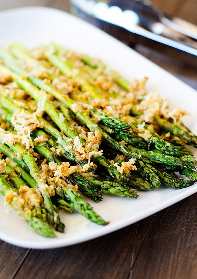 Roasted asparagus is with dijon and bread crumbs! It tastes like comfort food!