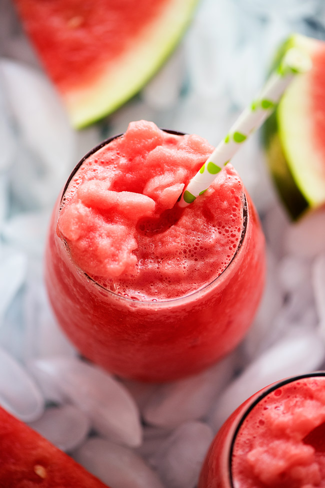 Cool off with these Watermelon Lemonade Slushies. Only 2 ingredients!