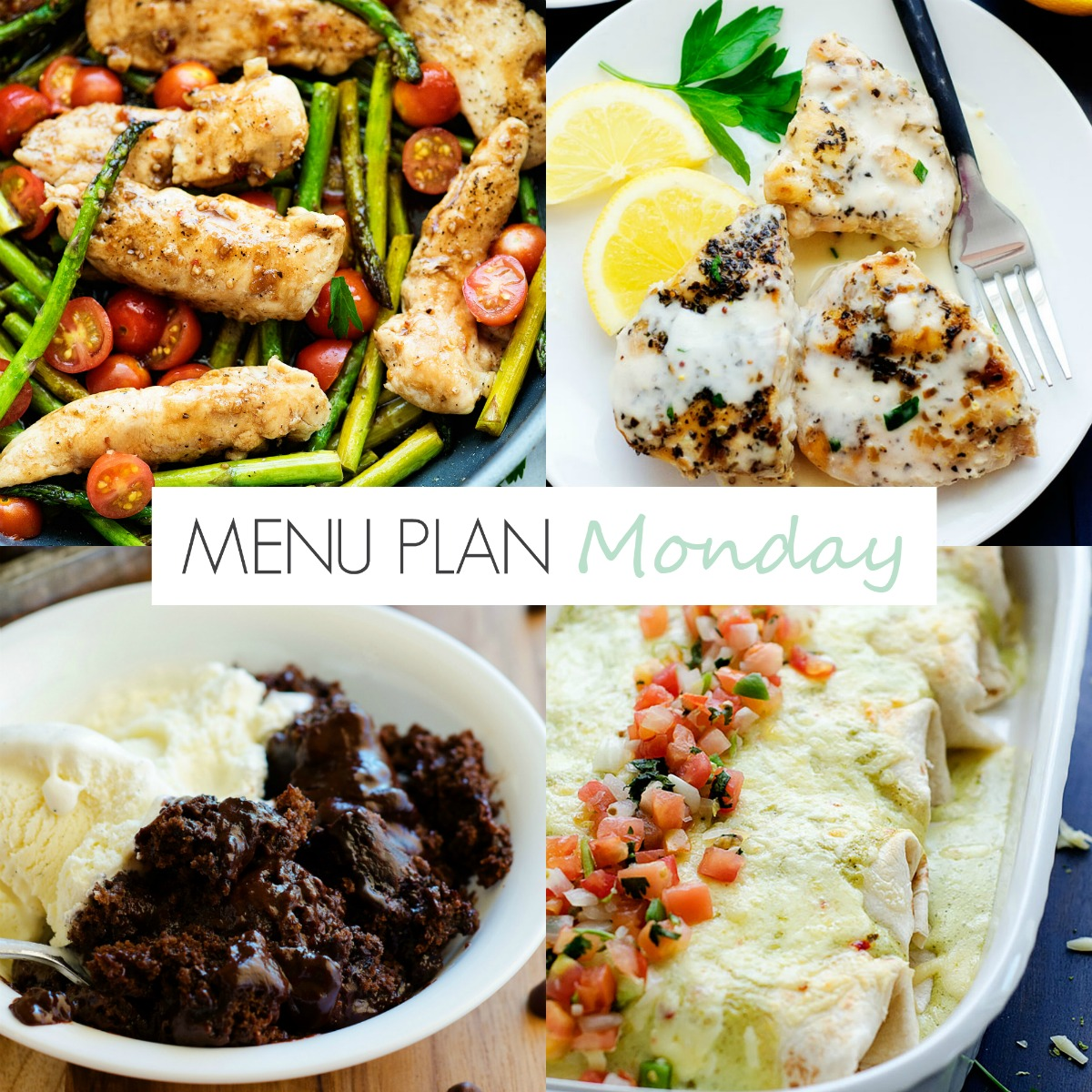 Smothered Chicken Burritos, Crock Pot Lemon Chicken and more easy recipes on Menu Plan Monday #158