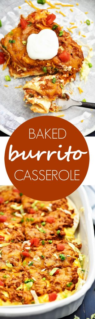 Baked burrito casserole has layers of flour tortillas, beans, meat and cheese. Life-in-the-Lofthouse.com