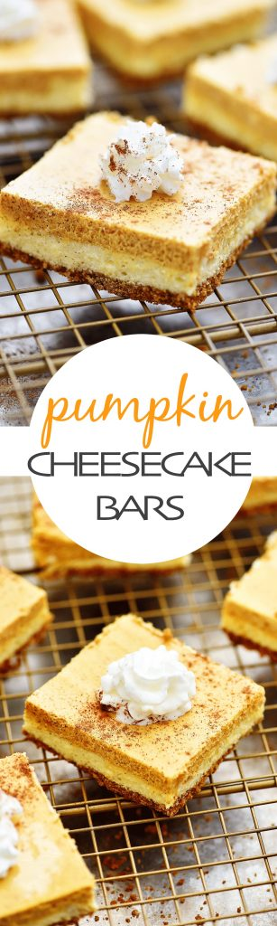 Layers of cheesecake and pumpkin pie over a graham cracker crust!