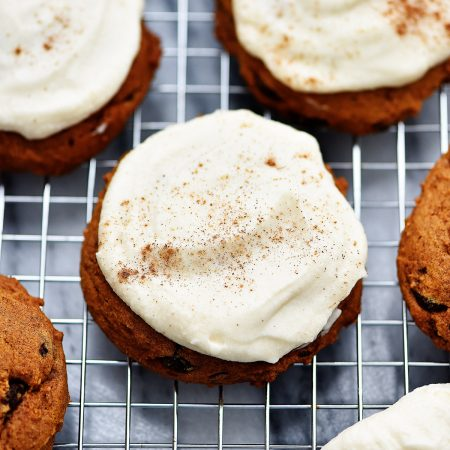 Soft pumpkin chocolate chip cookies with a maple cream frosting. These cookies are the best!