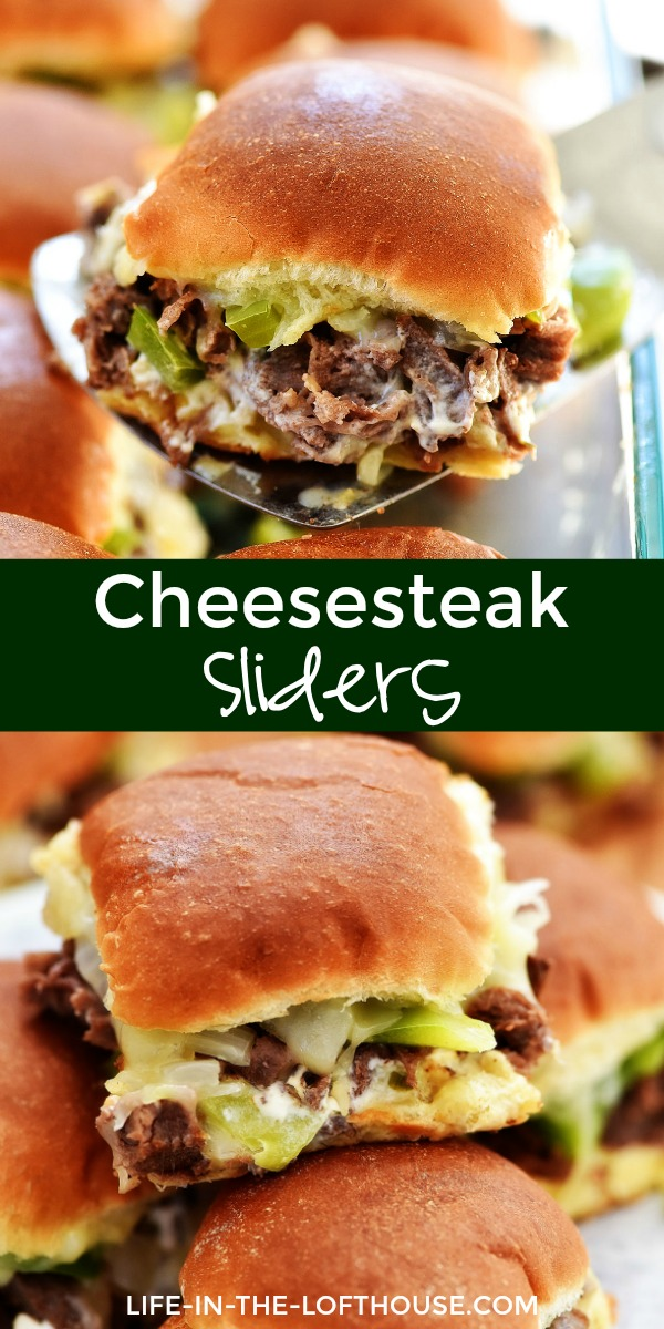 Cheesesteak Sliders are filled with warm pieces of steak, gooey cheese, peppers and onion. Life-in-the-Lofthouse.com