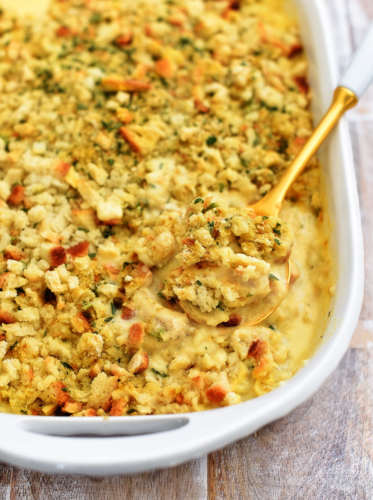 Chicken Stuffing Bake has layers of seasoned chicken, creamy soup and stuffing. Life-in-the-Lofthouse.com