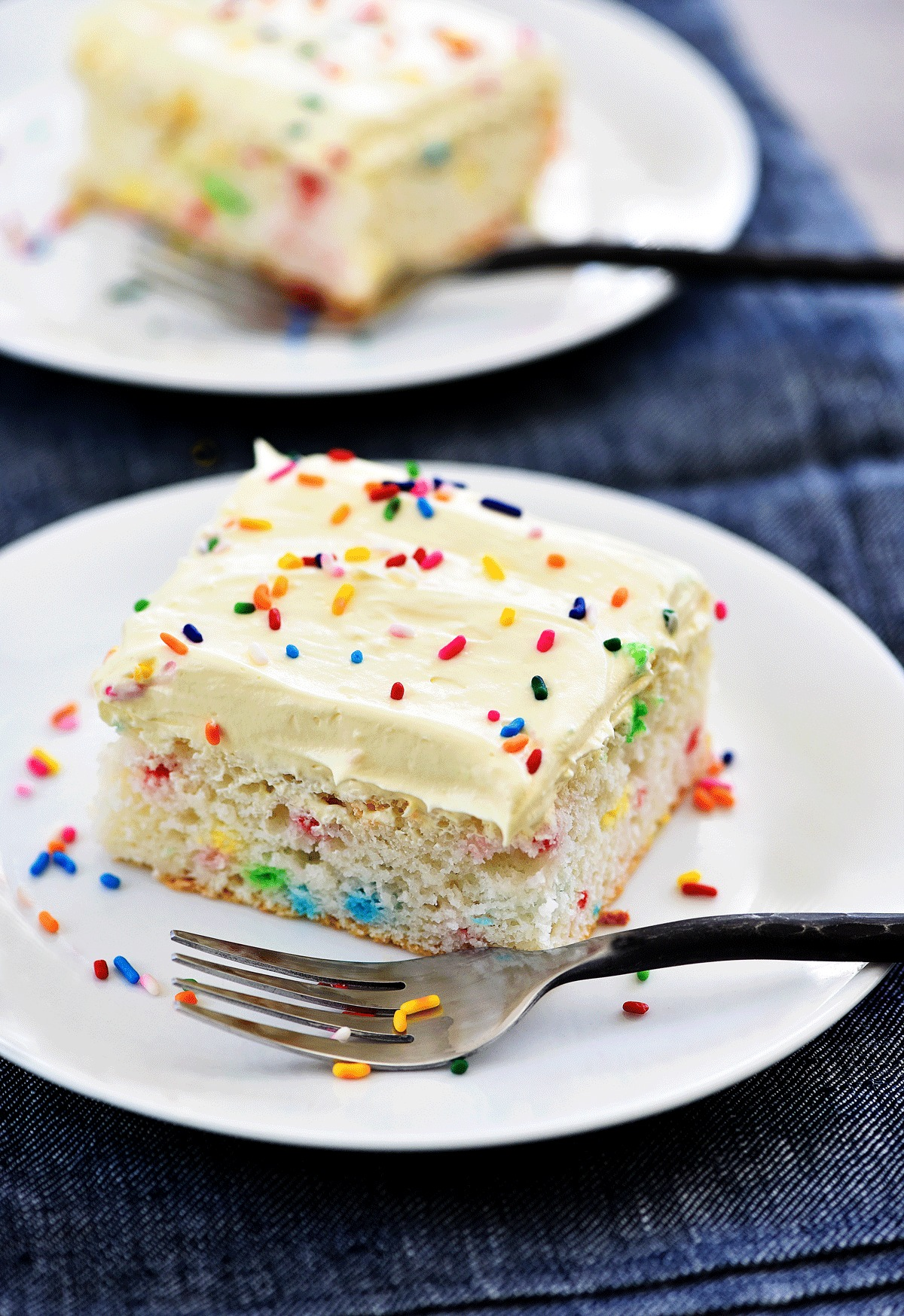 Skinny Funfetti Cake is a light, moist cake filled with sprinkles and lighter ingrediants. Life-in-the-Lofthouse.com