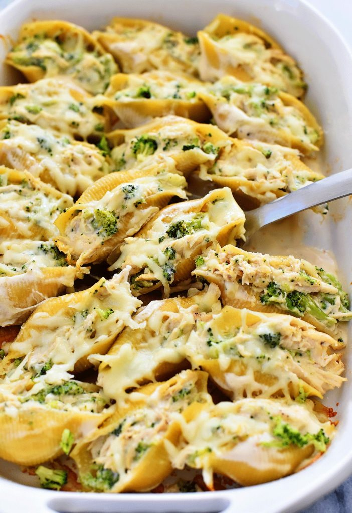 Chicken Broccoli Alfredo Stuffed Shells