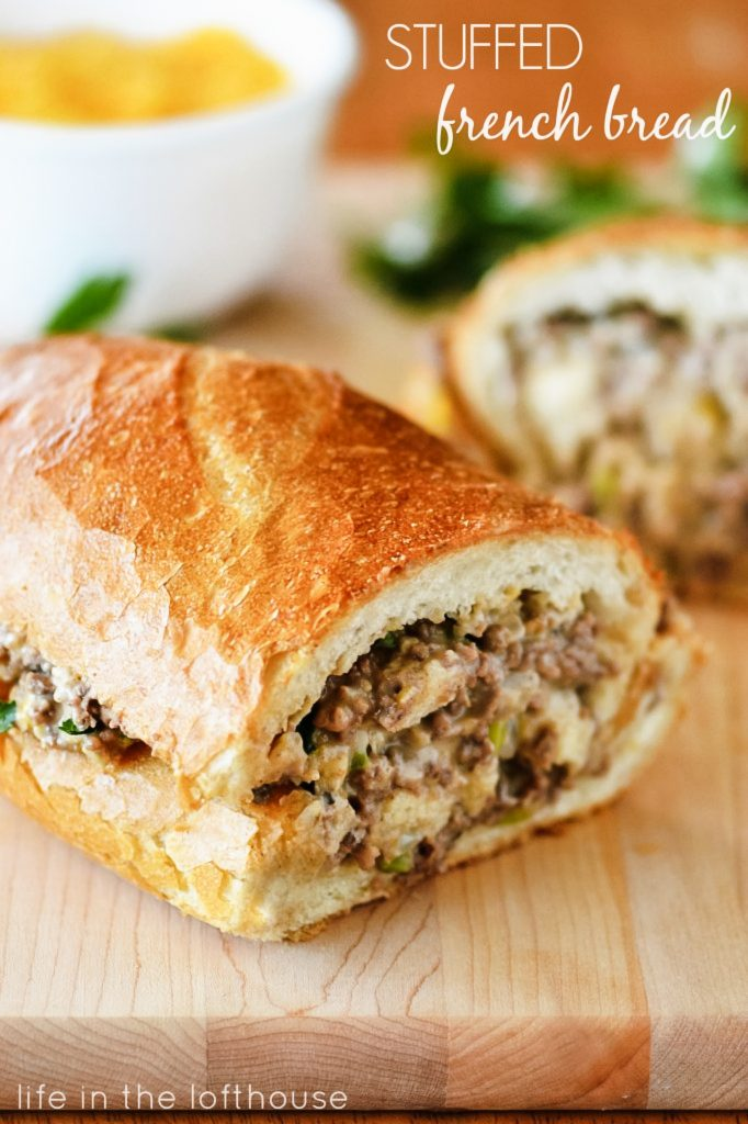 Stuffed french bread is full of a cheesy and flavorful ground beef mixture stuffed inside French Bread. Life-in-the-Lofthouse.com