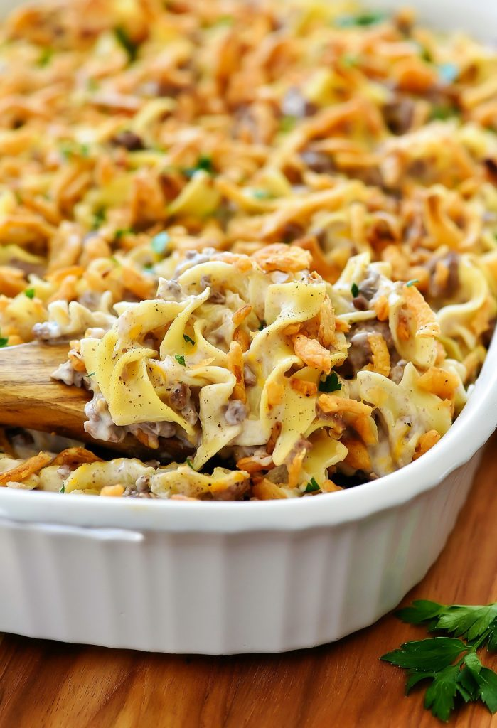 French onion beef casserole is filled with noodles, ground beef and french onion flavor. Life-in-the-Lofthouse.com