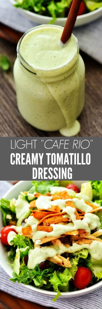 Light Creamy Tomatillo Dressing is a light ranch dressing with Mexican flavors. Life-in-the-Lofthouse.com