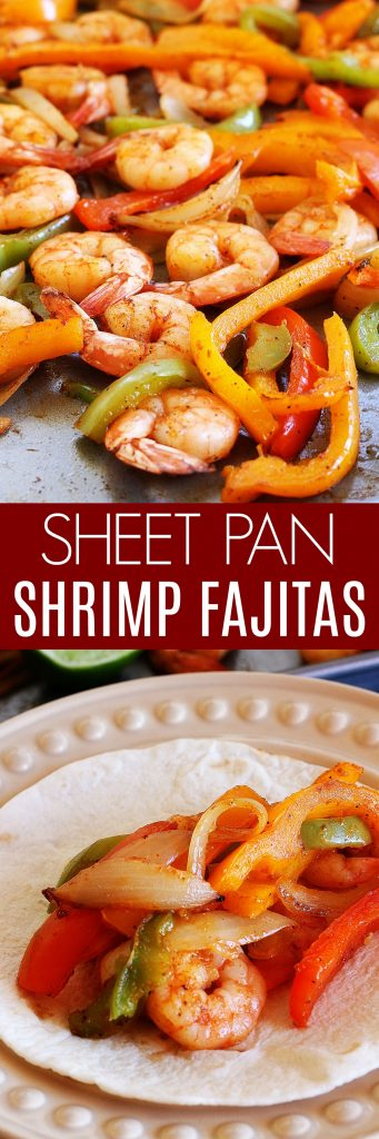 These sheet pan Shrimp Fajitas are slightly spicy and full of peppers and onions with hints of lime. Life-in-the-Lofthouse.com