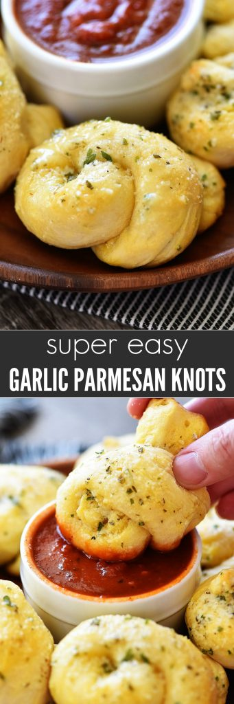 These Garlic Parmesan Knots are so easy to make and absolutely delicious! Golden biscuits smothered in garlic, Parmesan cheese and butter. Everyone will gobble these up!