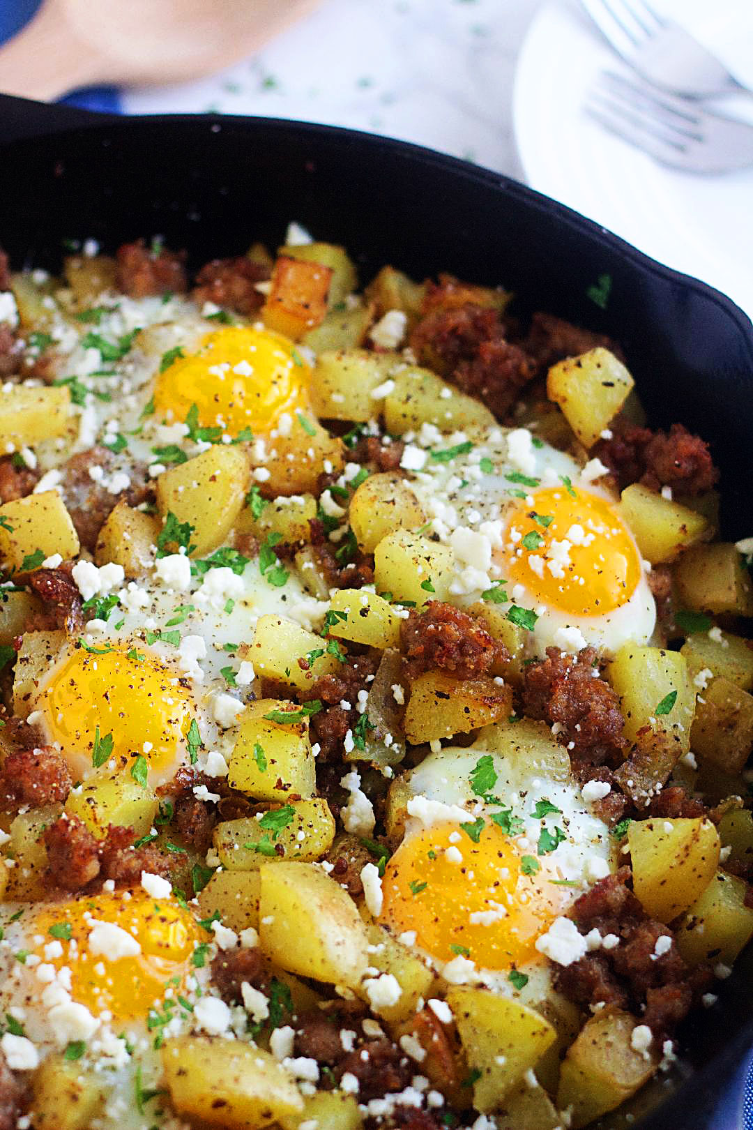 This breakfast hash is filled with sausage, egg and feta cheese. Life-in-the-Lofthouse.com