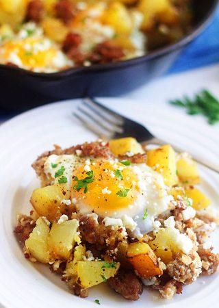 sausage, egg and feta hash