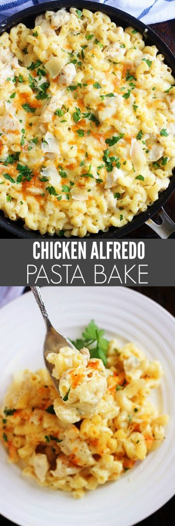 Chicken Alfredo pasta bake is a creamy and cheesy pasta dinner all made in one skillet. Life-in-the-Lofthouse.com