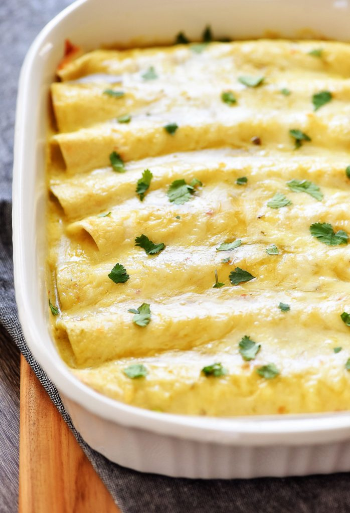 green chile pepper jack cheese chicken enchiladas