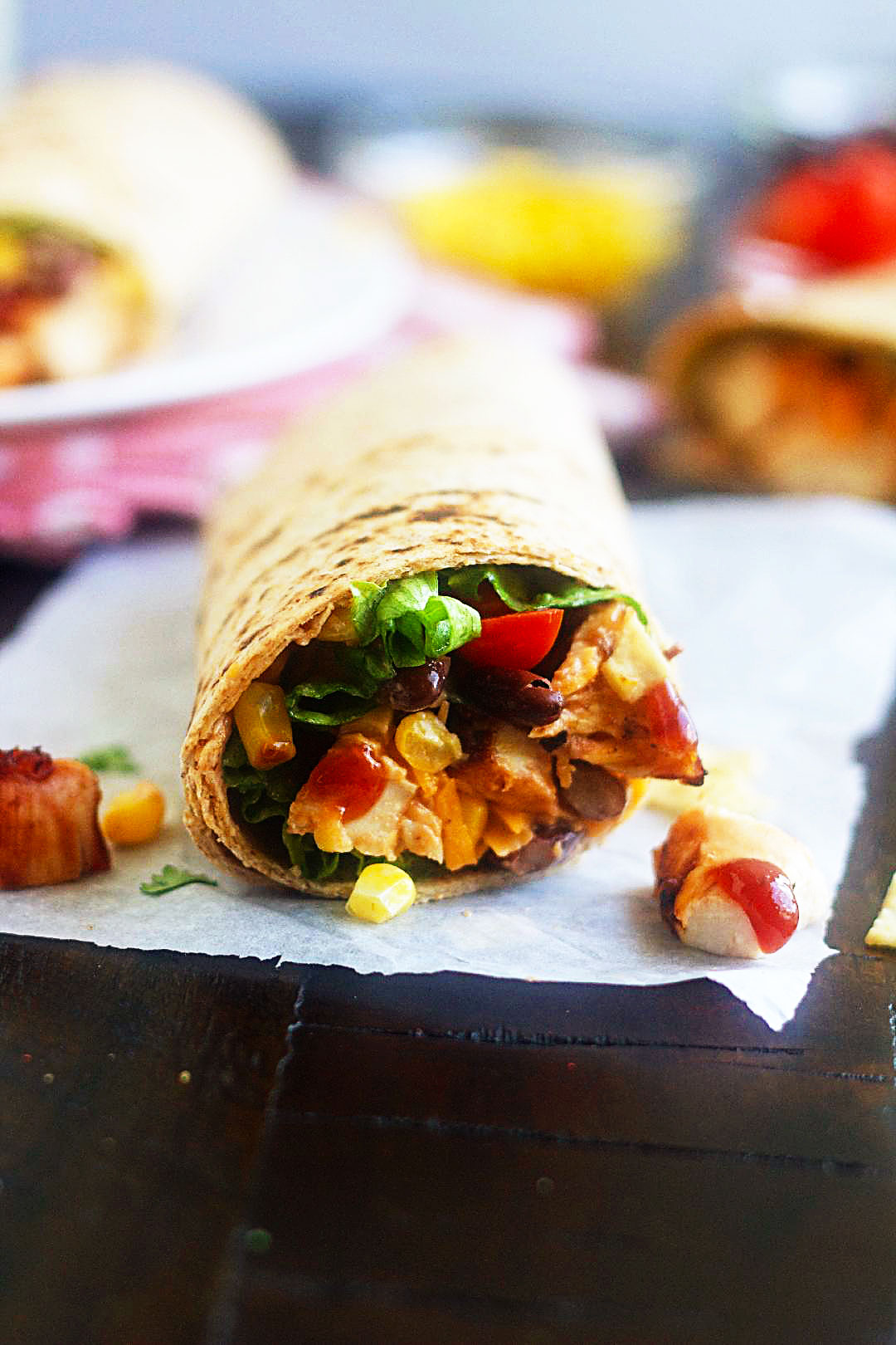 BBQ Chicken Salad Wraps are loaded with chicken, black beans, corn, tomatoes and cheese. Life-in-the-Lofthouse.com