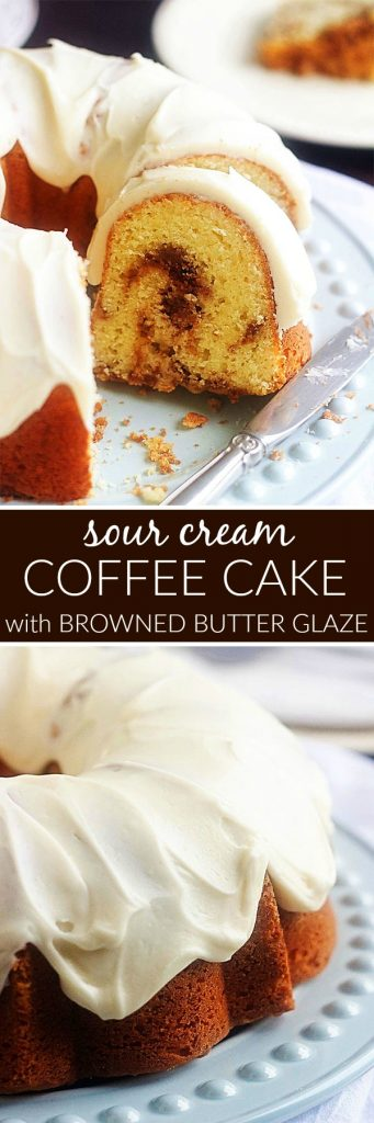Sour Cream Coffee Cake with Browned Butter Glaze