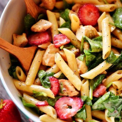 Strawberry Chicken and Spinach Pasta Salad