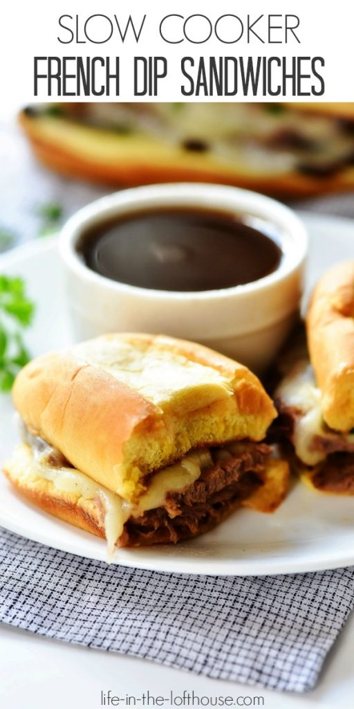 Slow Cooker French Dip Sandwiches are filled with tender slow cooked beef, topped with melty cheese and packed inside a toasty bun. Life-in-the-Lofthouse.com