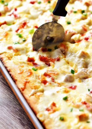 Sheet Pan Chicken Alfredo Pizza