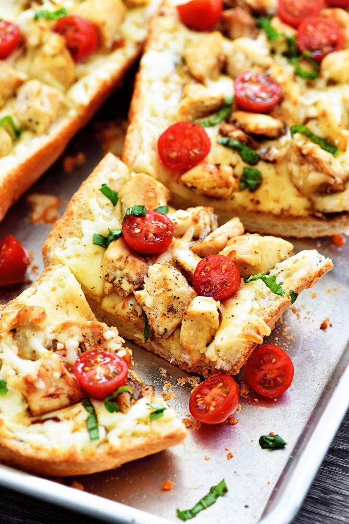 Chicken Caprese Garlic Bread