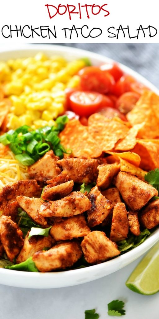 Doritos Chicken Taco Salad is filled with seasoned grilled chicken, corn, tomatoes, cheese and nacho cheese Doritos. Life-in-the-Lofthouse.com